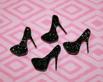4x laser cut acrylic high heel pump cabochons in Black/Silver Glitter
