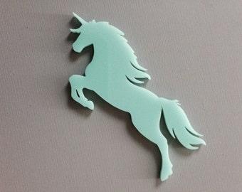 laser cut acrylic 3 inch unicorn cabochons in light aqua