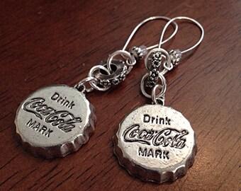 Earrings, Cowgirl Earrings, Bottle Cap Earrings, Coca-Cola Earrings, Hammered Metal Earrings