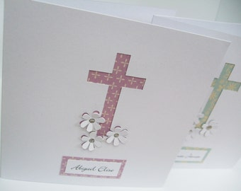 Personalised Christening Card - Baptism Card - Paper Cut Card - Handmade Greeting Card - Hand Cut Cross with Flowers