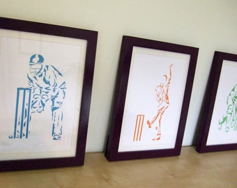 Paper cut Art - 3 A4 Cricket Pictures, Bowler, Batsman & Wicket Keeper, Sport Art, Artwork - Father's Day, Christmas Birthday Gift For a Man