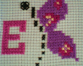Cross Stitch Butterfly Kit Personalised Any Letter