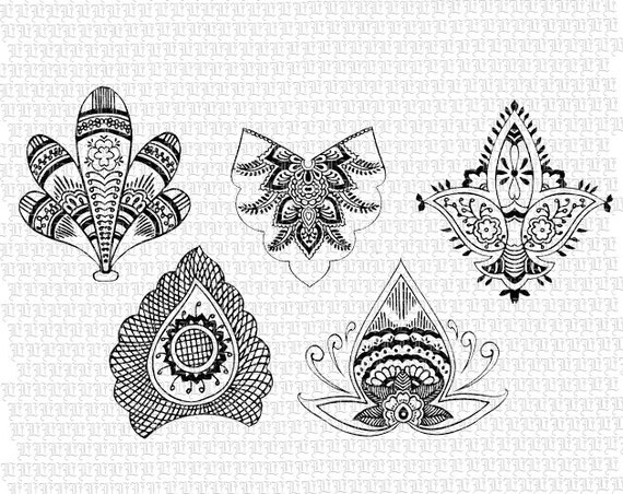 Printable Henna Tattoo Designs: Items Similar To Instant Download Henna Designs Tattoo