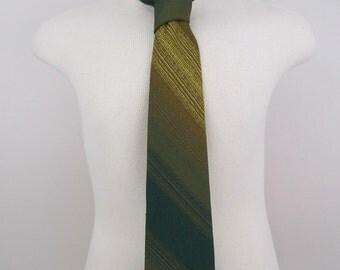 1970's Green Striped Polyester Necktie
