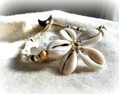 Cowrie Shell Choker Macrame Necklace, Bohemian Jewelry, Beach Wear, Hippie Choker, Surf Choker,