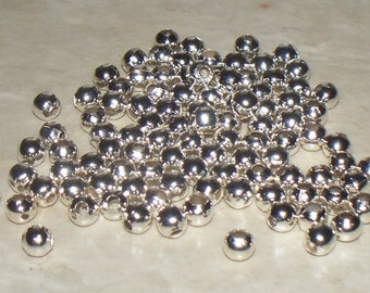 4MM Silver Plated Round Spacers