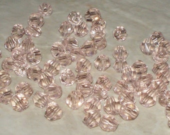 4MM Faceted Lt Pink Crystal Glass Bicones