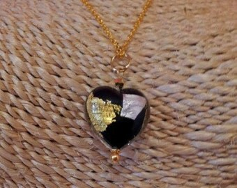 Necklace with genuine venetian glass bead - black heart with Gold and Silver. Romantic Jewelry.