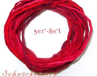 """5 Silk Ribbons """"Lipstick"""" 1 meter, rolled and sewn, hand colored, 05 Ponge Silk"""