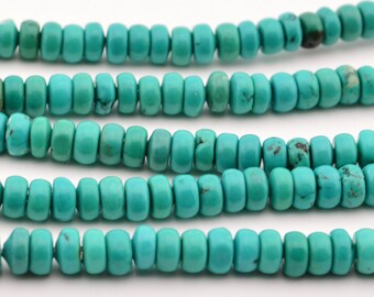 16 IN   Green  Turquoise  Rondel   Beads 4MM X 2MM