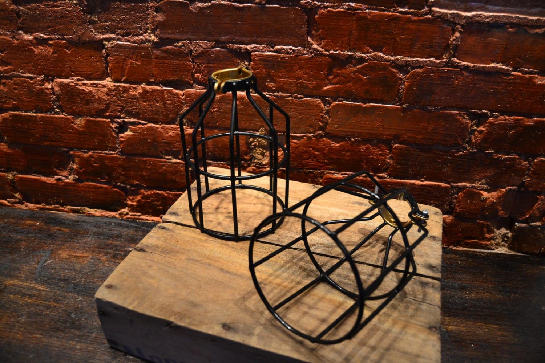 1x metal lamp cage edison bulb industrial by westninthvintage. Black Bedroom Furniture Sets. Home Design Ideas