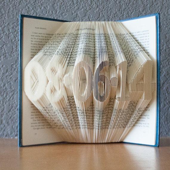 Book Art Wedding Gift : Personalized Gift for CouplesFolded Book Art- Wedding Gift -Date ...