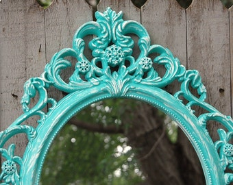 Shabby Chic Mirror, Wall Mirror, Baroque Mirror, Aqua, Turquoise, Blue, White, Oval, Upcycled, Ornate, Wedding Decor, Painted Mirror