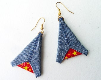 Denim Wonder Woman Artisan Earrings - Bright Red Yellow Star Blue - Eco Friendly Comics - Triangle Geometric Jewelry Green Gift by upmade