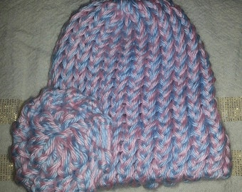 Knit Cap with Flower