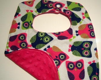 Bright Owl Baby Bib - Reversible Super Absorbent Triple Layer - READY TO SHIP - Minky Baby Bib - Owl Bib - Minky Bibs - Baby Girl Bibs