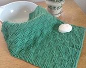 Kitchen Towel Knit Basket-weave Cotton Yarn Green
