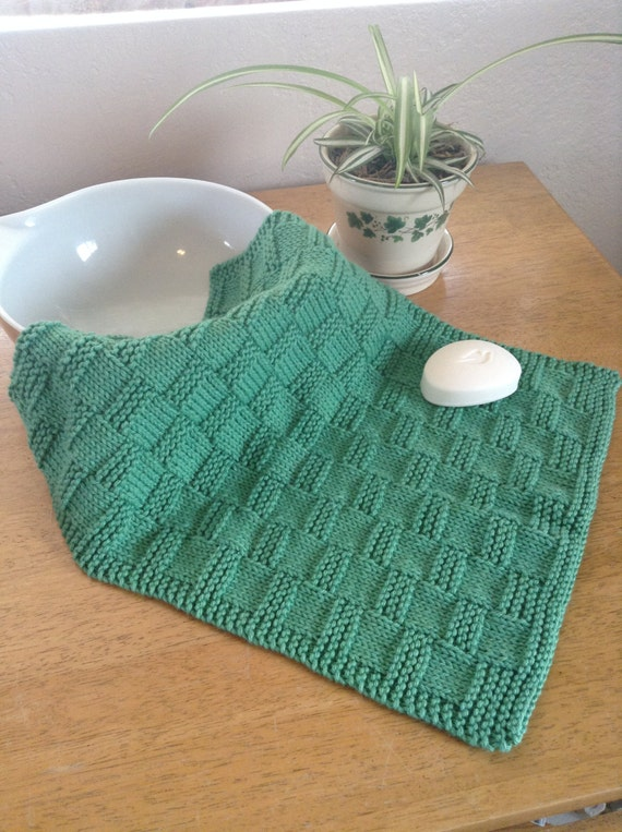 Knitted Cotton Dish Towel Pattern : Kitchen Towel Knit Basket-weave Cotton Yarn Green