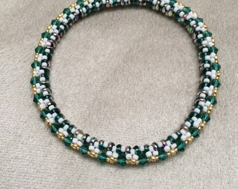 Green and White Bangle Bracelet