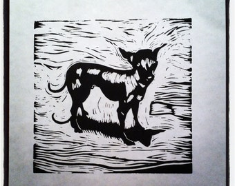 Xoloitzcuintli - Mexican Hairless Dog Open Edition Lino Print A4 Paper by Mystee