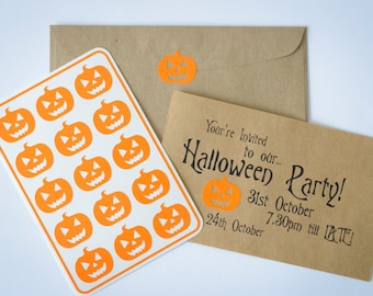 15 Halloween Stickers - Carved Pumpkin in Orange - Handmade Envelope Seals - Party & Holiday invitations - Scrapbooking - Trick or Treat