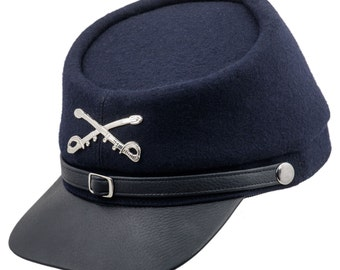 American Civil War cap - kepi style replica with black leather visor and navy blue wool crown.