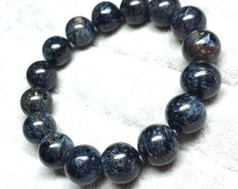 Genuine Pietersite Bracelet 10mm A Grade, Natural Blue Pietersite Necklace, Round Pietersite Balls, Real Pietersite Jewelry