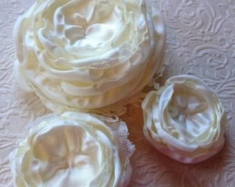 Ivory satin flowers, handmade flowers, singed flowers, bridal accessory
