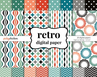 Lovely Retro Digital Paper   Chevrons Polka Dots Vintage Patterns Mid Century  Modern Background Texture Photography Backdrop