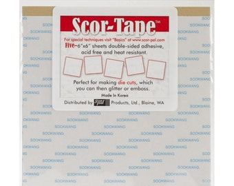 Scor-Tape 6x6 Sheets of Double-Sided Adhesive - Pack of 5 sheets