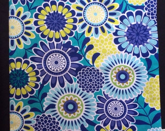 Blue Floral Reversible Shoe Bag
