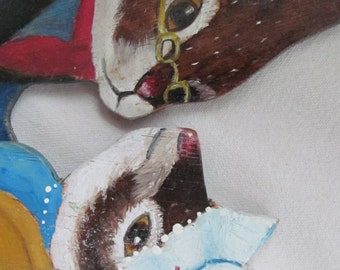 hand painted folk art  rabbits figurines bunny