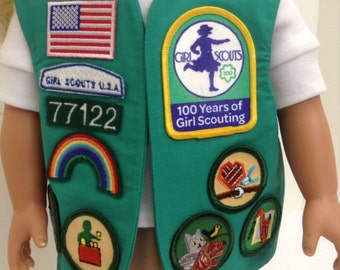 "Junior Girl Scout Uniform Vest- Fits any 18"" Doll"