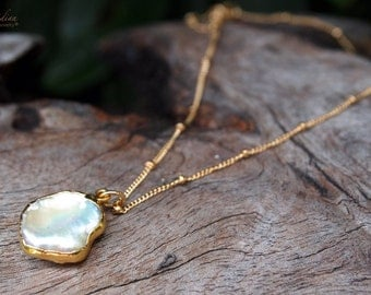 Pearl Necklace 24k Gold edged or Sterling Silver