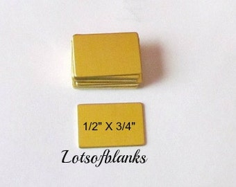 Brass Blanks - 1/2 x 3/4  - Hand stamping metal Blanks - 22G brass rectangles - necklace blanks - gold blanks -  5 count or more
