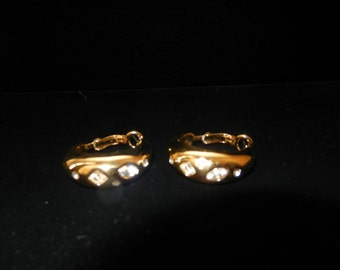 Gold Hoop Pierced Earrings with Stone Inserts.