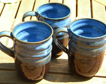 Large Ceramic Mug, Cobalt Blue and Mahogany Brown