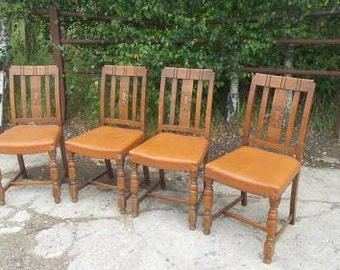Set of 4 Oak Upholstered Chairs