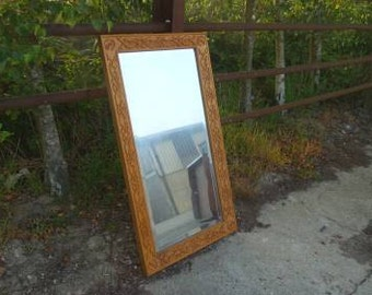 Solid Oak Carved Mirror