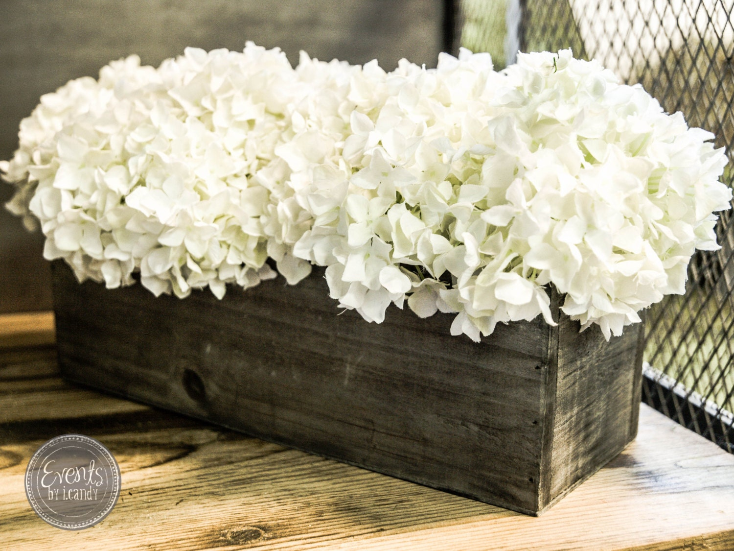 Vintage wood centerpiece flower box