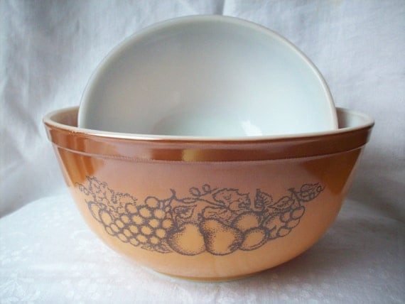 Vintage Brown Pyrex Old Orchard Bowls Set Of 2 By Hmctreasures