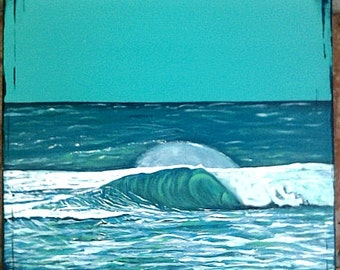 """Blue Ocean Wave Acrylic Painting 15""""x15"""", Surf Art, Original Ocean Wall Art, Hand-Painted, Acrylic on Canvas 15x15 inches, Ready to Hang"""