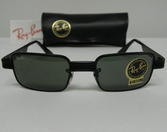 New Vintage B&L Ray Ban Undercurrent 2 Metal Rectangle Black G-15 Grey W2828 Sunglasses usa