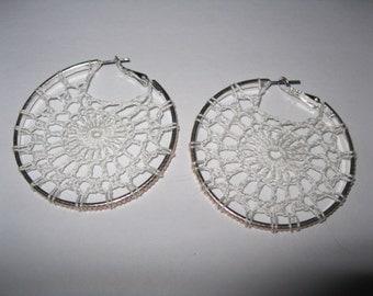 White Crochet Hoop Earring