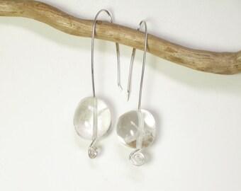 sterling and quartz earrings, long stone earrings, boho whimsical earrings, quartz crystal jewelry, boho wedding earrings