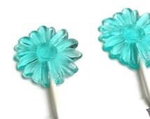 Large Light Aqua  Blue Daisy Flower Lollipops - Hard Candy Lollipops - 3 Lollipop Pack -   Wedding Favors, Party Favors