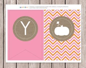 Pink Pumpkin Banner  // Fall Birthday Banner // Fall Party // Pumpkin Party // Fall Printables // DIY Printables