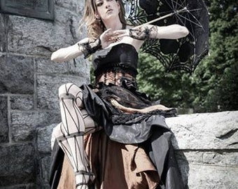 Steampunk black and copper striped bridal gown with bustle