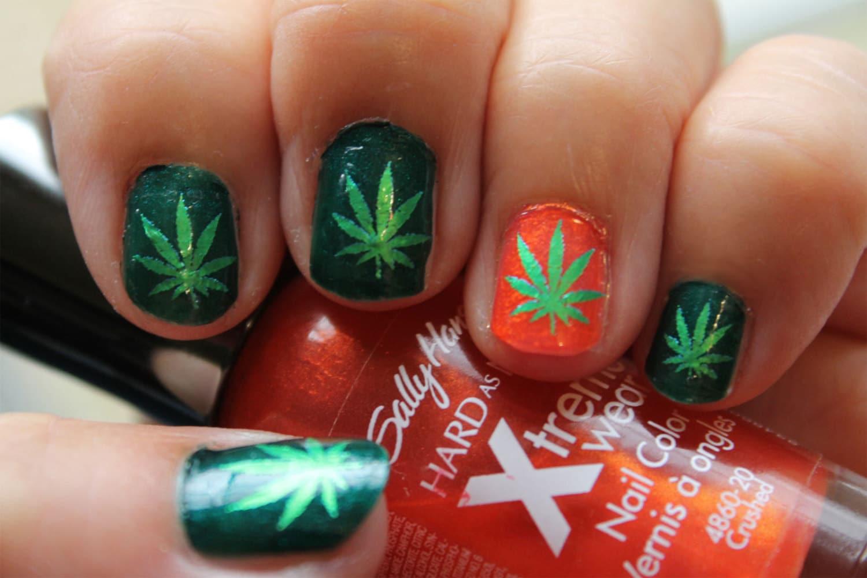 Marijuana nail art | Etsy