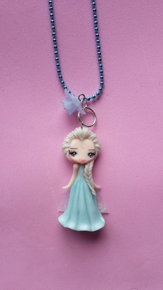 Necklace Elsa frozen in fimo, polymer clay.